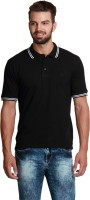 Design Roadies Solid Mens Polo Neck Black T-Shirt