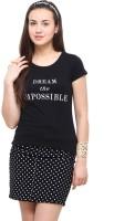 Yepme Printed Womens Round Neck Black T-Shirt