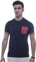 Urban Flux Solid Men Round Neck Red, Black T-Shirt