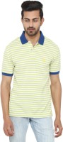 Ruse Striped Mens Polo Neck Light Green, Blue T-Shirt