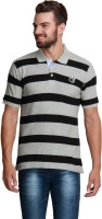 Design Roadies Striped Mens Polo Neck Grey, Black T-Shirt