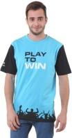 Pure Play Printed Men Round Neck Light Blue, Black T-Shirt