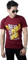 Spur Printed Men's V-neck Maroon T-Shirt