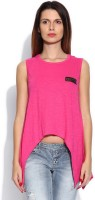 Cult Fiction Solid Womens Round Neck Pink T-Shirt