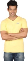 Poshuis Solid Men V-neck Yellow T-Shirt
