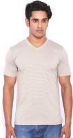 Rat Trap Striped Men V-neck White, Beige T-Shirt