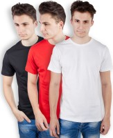 TOMO Solid Men's Round Neck Black, Red, White T-Shirt(Pack of 3)