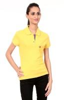 Texco Printed Womens Polo Neck Orange T-Shirt