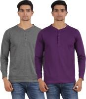 Arowana Solid Mens Henley Grey, Purple T-Shirt(Pack of 2)