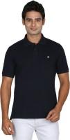 Leaf Solid Men's Polo Neck Dark Blue T-Shirt