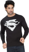 Alan Jones Superhero Men Round or Crew Black T-Shirt