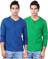 Top Notch Solid Mens Henley Blue, Green T-Shirt(Pack of 2)