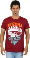 Red Line Graphic Print Men Round Neck Maroon T-Shirt