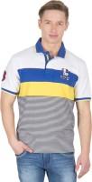 Wilkins & Tuscany Striped Mens Polo Neck White T-Shirt