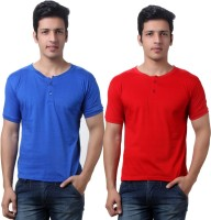 TeeMoods Solid Men's Henley Red, Blue T-Shirt(Pack of 2)