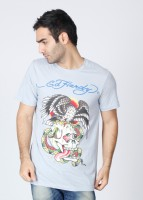 Ed Hardy Printed Mens Round Neck Light Blue T-Shirt