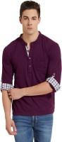 Elaborado Solid Mens Henley Purple T-Shirt
