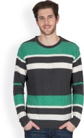 Hypernation Striped Men's Round Neck Black, Green, White T-Shirt