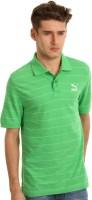Puma Striped Men's Polo Neck Green T-Shirt