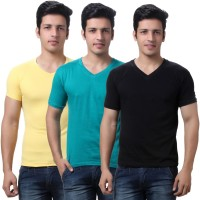 TeeMoods Solid Mens V-neck Black, Yellow, Green T-Shirt(Pack of 3)