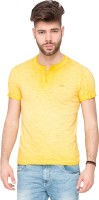 Mufti Solid Men's Henley Yellow T-Shirt