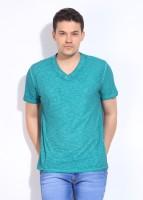 John Players Solid Mens V-neck Blue T-Shirt
