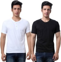 TeeMoods Solid Men's Henley Black, White T-Shirt(Pack of 2)