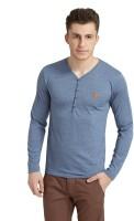 Breakbounce Solid Men's Henley Blue T-Shirt