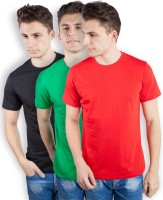 TOMO Solid Mens Round Neck Black, Green, Red T-Shirt(Pack of 3)