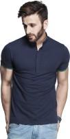 Tinted Solid Mens Henley Dark Blue T-Shirt