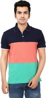 Ruse Solid Mens Polo Neck Green, Dark Blue T-Shirt
