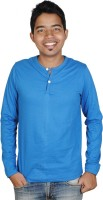 Vilva Solid Mens Henley Blue T-Shirt