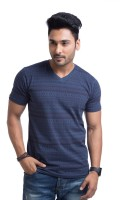 Cult Fiction Printed Mens V-neck Blue T-Shirt