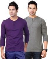 Top Notch Solid Mens Henley Purple, Grey T-Shirt(Pack of 2)