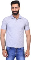 Ave Solid Men Polo Neck Grey T-Shirt