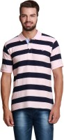 Design Roadies Striped Mens Polo Neck Pink, Black T-Shirt
