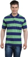The Cotton Company Striped Men's Polo Neck Blue, Green T-Shirt