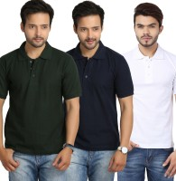 Weardo Solid Mens Polo Neck Green, Blue, White T-Shirt(Pack of 3)