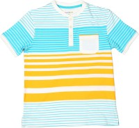 Poppers by Pantaloons Boys Striped T Shirt(White, Pack of 1)