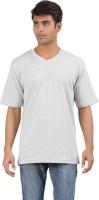 Crystal Solid Men's V-neck Grey T-Shirt