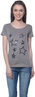 Meira Embroidered Womens Round Neck Grey T-Shirt