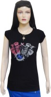 Ultra Fit Printed Women's Round Neck Black T-Shirt