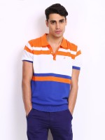 John Players Striped Mens Polo Neck Multicolor T-Shirt