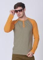 Breakbounce Solid Men's Henley Orange, Grey T-Shirt