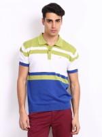 John Players Striped Mens Polo Neck Blue, White, Green T-Shirt