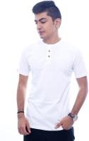Urban Flux Solid Men Henley White T-Shirt