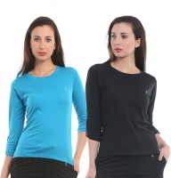 Ultra Fit Solid Women's Round Neck Black, Blue T-Shirt(Pack of 2)