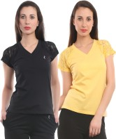 Ultra Fit Solid Women's V-neck Yellow, Black T-Shirt(Pack of 2)