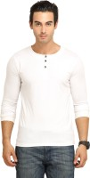 Fio Solid Mens Henley White T-Shirt