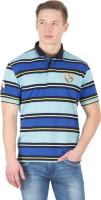 Wilkins & Tuscany Striped Men's Polo Neck Light Blue T-Shirt